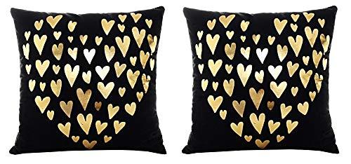 2 kussenslopen vierkant kussen - sierkussen - 44 x 44 cm - bank - linnen - huis - bed - meubels - slaapkamer - harten - hart - zwart - goud bedrukt - origineel cadeau idee