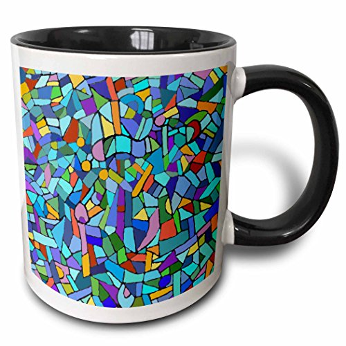 3dRose mug_58376_4'Bright Vibrant and Colorful Blue Gaudi inspired mosaic pattern - stain glass like - multicolored' Two Tone Black Mug, 11 oz, Multicolor