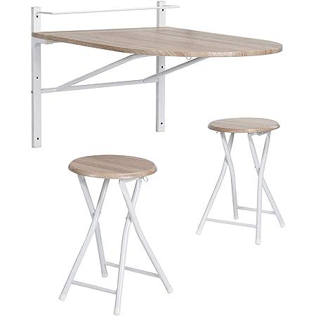 Table de Salle à Manger Murale avec 2 Chaises Pliantes pour Cuisine