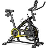 Merax Exercise Bike Indoor Cycling Bike Cycle Trainer Adjustable Stationary Bike 330LBS Weight Capacity (Yellow)