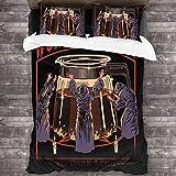 Juego de ropa de cama de 3 piezas de 218 x 177 cm, adoración café, juego de ropa de cama Queen con 2 fundas de almohada cuadradas brillantes impresas para habitación de invitados de las mujeres