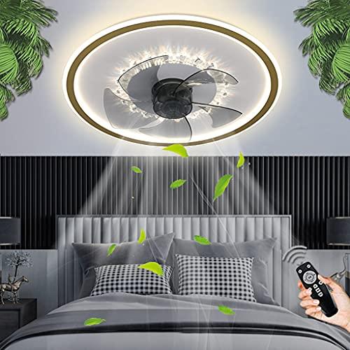 Ventilador De Techo LED Con Iluminación Moderna Regulable Con Control Remoto Ventilador Luz De Techo Tiempos Silenciosos Fan Lámparas De Techo Sala De Estar Dormitorio Comedor Oficina Cocina (Gold)