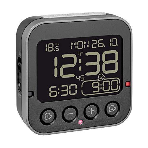 TFA Dostmann 60.2552.01 Bingo 2.0 digitaler Funk-Wecker mit Temperaturanzeige und Negativ-Display (Schwarz Negativdisplay mit Batterien)