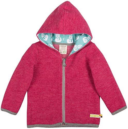 loud + proud Modische Baby Kapuzenjacke aus Bio Woll-Fleece mit Bio Baumwolle, Vorne mit Reißverschlussaus, GOTS Zertifiziert, Hibiscus, 62/68
