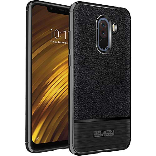 ebestStar - kompatibel mit Xiaomi Pocophone F1 Hülle Lederhülle Design TPU Handyhülle Schutzhülle, Flex Silikon Hülle, Schwarz [Phone: 155.5 x 75.3 x 8.8mm, 6.18'']