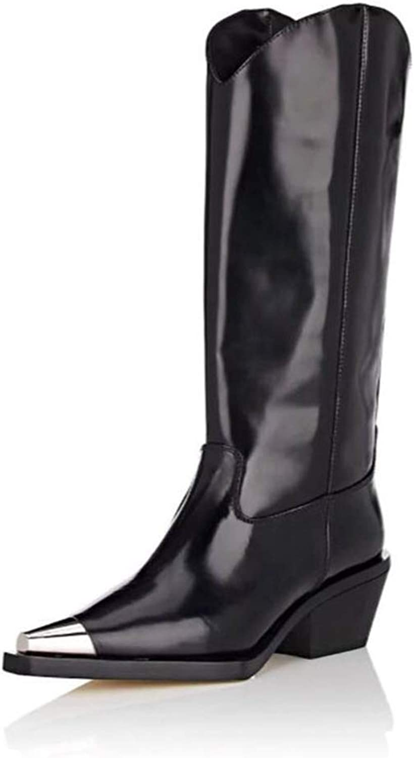 T-JULY Winter Ladies Mid Calf Martin Boots Square Thick Heel Metal Point Toe Slim Long Booties Soft Women Motorcycle Boots