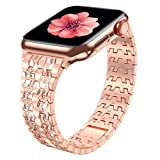 Fitlink Compatible with Apple Watch Band 38mm 40mm 42mm 44mm Series 6 Series 5 4 3 2 1 SE, Bling Dressy Jewelry Metal Adjustable Apple Watch Bands for Apple Watch 6/5/4/3/2/1 (Everose Gold, 38/40mm)