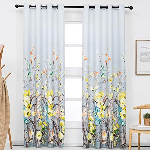 Kotile Floral Curtains for Living Room - Room Darkening Curtains Thermal Insulated White Grommet Curtains Printed with Yellow Flower 95 Inch Length Drapes for Bedroom, 52 x 95 Inches, 2 Panels, Yellow