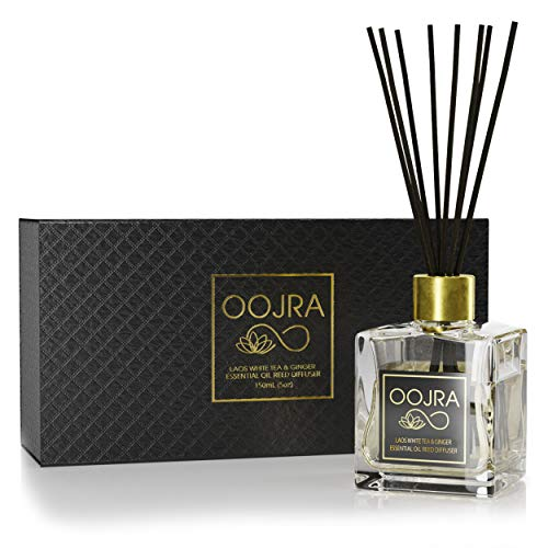 Reed Diffuser Gift Set, Natural Essential Oil Long Lasting Fragrance 5 oz; Aromatherapy Air Freshener; Laos White Tea and Ginger (+Other Scent Options Available) w/ Glass Bottle & Rattan Reeds