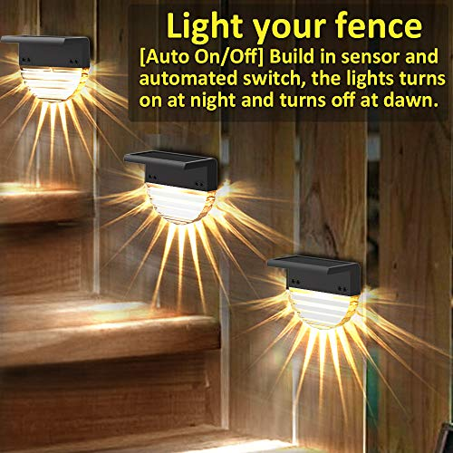 Solar Deck Lights, 6 Pack Solar Step Lights Outdoor Waterproof LED Solar Fence Lights for Patio, Stairs,Yard, Garden Pathway, Step and Fences, 10 Lumens, Warm White/Color Changing Lighting
