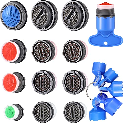 12 Pieces Faucet Aerator for Cache Aerators and 5 Pieces Cache Faucet Aerator Key Removal Wrenches, Replacement Cache Aerators for Sink M 16.5, 18.5, 21.5, 24 mm Tap Aerators Flow Restrictor