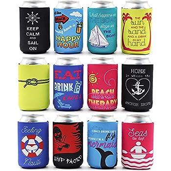12 oz Beach Themed Neoprene Can Cooler Sleeves for Soda Beer Beverages  12 Pack