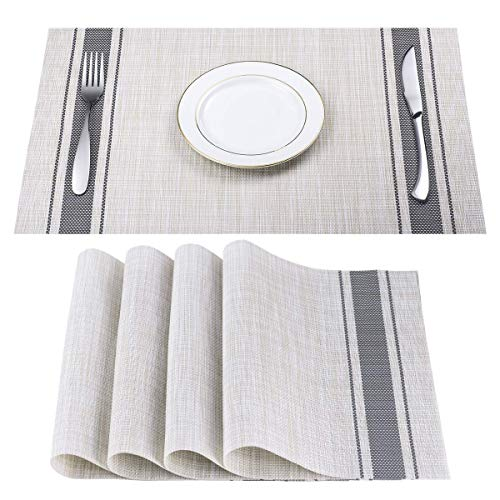 DACHUI Placemats, Heat-Resistant Placemats Stain Resistant Anti-Skid Washable PVC Table Mats Woven Vinyl Placemats, Set of 6 (Grey)