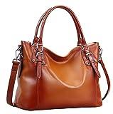 Heshe Womens Leather Handbags Shoulder Tote Bag Top Handle Bags Satchel Designer Ladies Purses Cross-body Bag (SSorrel)