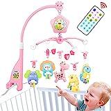 Móviles de bebé para cuna, cuna móvil con luces y música, mando a distancia y juguete para empacar y jugar rosa (PINK)