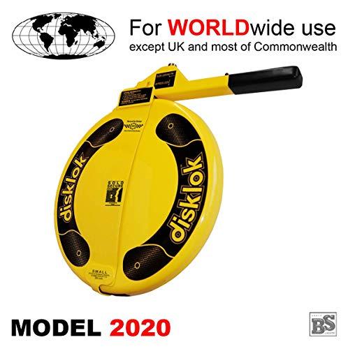 BS-Disklok S 390 Gelb 2019 - Lenkradkralle und Airbagschutz für Lenkräder mit 35-38,5 cm ø (für Linkslenker EU ohne UK)