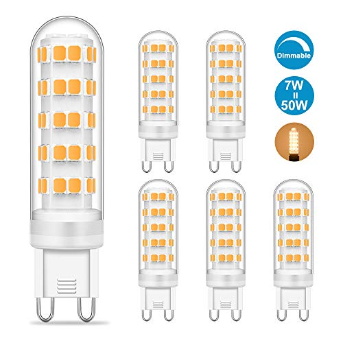 G9 LED Dimmbar Warmweiss, 7W Warmweiß Leuchtmittel Ersetzt 50W Halogen Lampe, 620LM, 2700K, LED G9 Kein Flackern Birne AC 220-240V, CRI> 82Ra, Hell Glühbirne, 5er Pack, Viaus