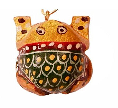 Purpledip Sleutelhanger/Ring/Haak 'Wonder Frog': Sculpted In Kadam Hout met Fijne Gouden Schilderijen, Uniek Indiaas Cadeau-idee (11262)
