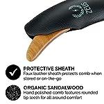 ZEUS Boomerang Large Sandalwood Beard Comb in Leather Sheath, Best Natural Organic Wood Hair Comb - M31 3