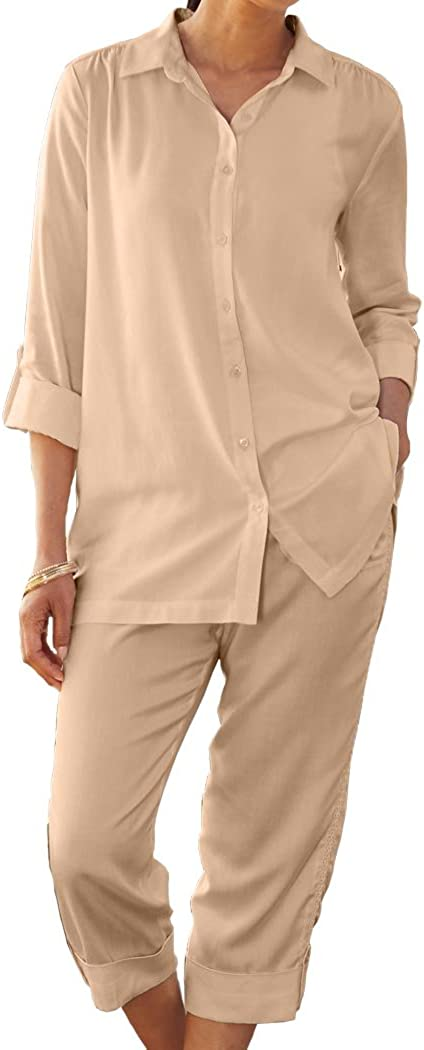 ANTHONY RICHARDS Women's Mesh Accent Capri Set - Silky Blouse & Roll-Cuff Pants Outfit