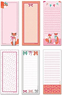 6-Pack Magnetic Notepads for Fridge - to Do List - Grocery Shopping List - School Reminders - Unique Haute Fox Design Series Set - 50 Sheets - 3.5