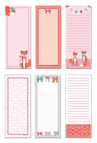 Note Card Cafe 6-Pack Magnetic Notepads | 50 Sheets per Pack | Haute Fox Designs | 3.5 x 9 in | Memo Pad for Fridge, Planner, Notes, to-Do List, Grocery Shopping List, Recipes, School Reminders