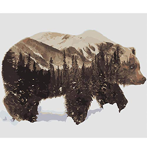 wxxxj Colour Talk Paint By Numbers For Adults And Kids DIY Oil Painting Kit Beginner- Big Brown Bear ForestKits on Canvas Acrylic Wall Decoration -30x40cm
