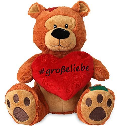 matches21 Herz Teddy Teddybär Herzteddy GROßE Liebe braun 25 cm mit Hashtag Geschenkidee Freundin Partner Valentinstag
