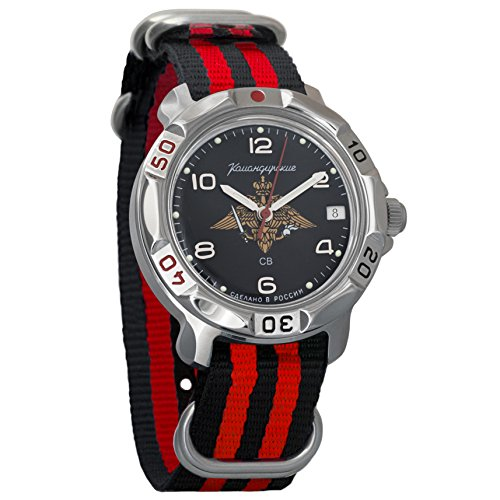 Vostok Komandirskie 2414 Reloj Militar Ruso mecánico de Cuerda Manual // 811627 (Black+Red)