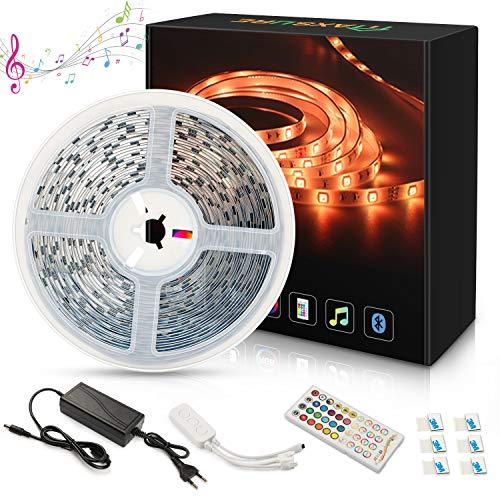 Maxsure Tira LED Bluetooth 10M, Tiras LED RGB 5050 Iluminación con 300 LED con Control Remoto de 40 Teclas y la App, Control Musical Inteligente RGB, Decoración para Hogar (No Impermeable)