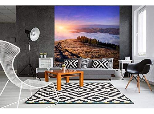 Vlies Fotobehang ZONSOPGANG IN BERGEN | Niet-Geweven Foto Mural | Wall Mural - Behang - Reusachtige Wandposter | Premium Kwaliteit - Gemaakt in de EU | 225 cm x 250 cm