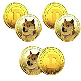 Dogecoin Coin Gold Plated Doge Commemorative Coin with Protective Case Doge to The Moon