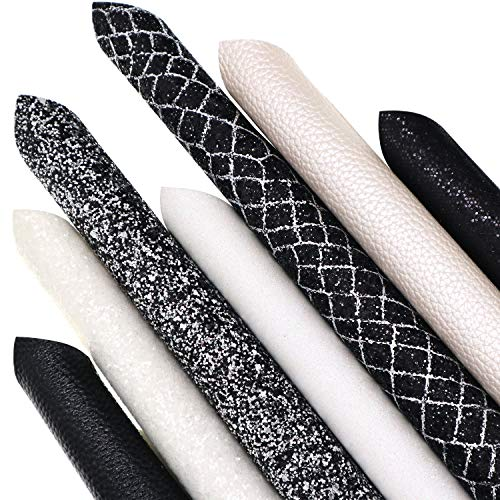 ZAIONE 7Pcs/Set 8 x 12(20cm x 30cm) A4 Bundle Leather Sheets Mixed White&Black Series Holographic Sparkle Fine Chunky Glitter Faux Leather Fabric Bow Earrings Making DIY Craft?White&Black Series?