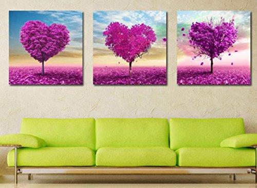 Pitture di paesaggio del fiore DIY dipinti a mano olio pittura pura digitale di incantesimo d'amore viola romantico tre triple alberi