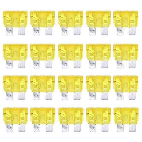 LYNQYG Sicherungshalter 100 PCS Auto Mini Blade Fuse, DC 12V 20A (gelb) (Color : Yellow)