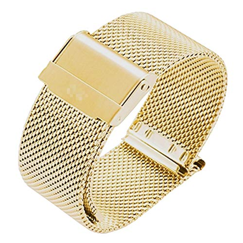GOLOFEA Woven Metal Watch Band, Stainless Steel Watch Chain, Adjustable Length Gold color-8mm