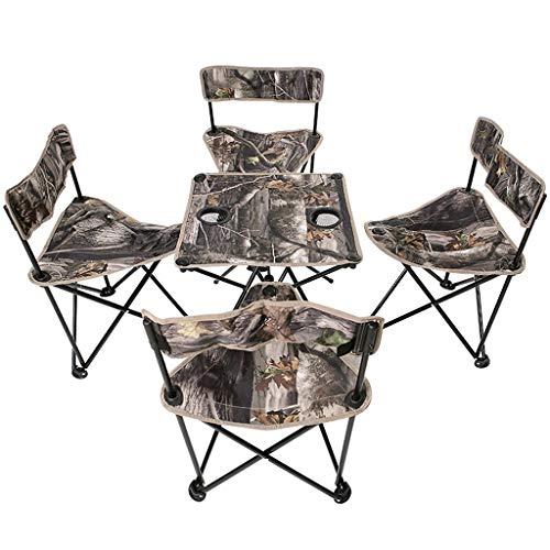 SHIJIE1701AA Mesa Auxiliar Mesa y sillas Plegables portátiles al Aire Libre Mesa de Comedor for automóvil Hogar Simple Mesa pequeña 1 Mesa 4 sillas Sala de Estar Mesa (Color : A)