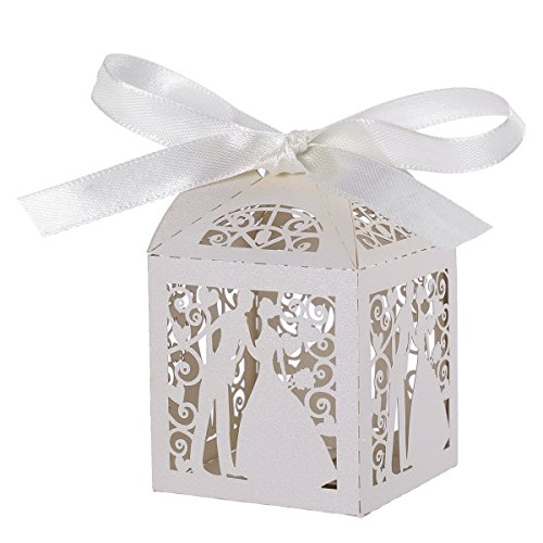 Tinksky 100pcs Couple Design Luxury Lase Cut Party Wedding Favor Ribbon Candy Boxes Gift Box Table Decorations (White)