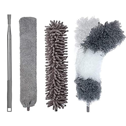 JINYUDOME Plumeros extensibles de microfibra para limpieza del hogar, 3 cabezales de limpieza diferentes y 1 barra de extensión, lavables.