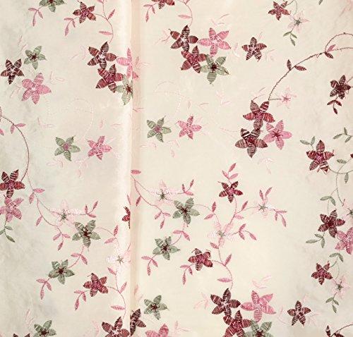 Hemmers 1 Meter festlicher TAFT Allover Stickerei Blüten Blumen Ecru Bordeaux rosa grün Meterware...