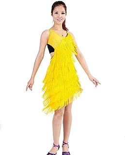970b071de8b Mujeres sin mangas Deep V Backless con cordones Fringe Borla Vestido de baile  latino Baile Sway