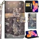 DodoBuy Samsung Galaxy A50 Hülle 3D Flip PU Leder Schutzhülle Handy Tasche Wallet Hülle Cover Ständer mit Trageschlaufe Magnetverschluss für Samsung Galaxy A50 - Katze Tiger