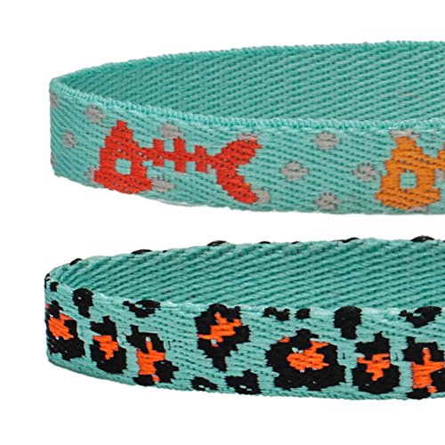 Blueberry Pet Pack of 2 Cat Collars, Hunting Expedition with Fish Bone and Leopard Print Adjustable Breakaway Cat Collar with Bell, Neck 9-13