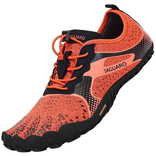SAGUARO Unisex Scarpe per Sport Acquatici Comodo Antiscivolo Scarpe da Fitness Minimaliste Flessibili Scarpe da Scoglio Comodo Durevole Morbida Bella FiveFingers Scarpe da Nuoto, Acqua Arancione 45