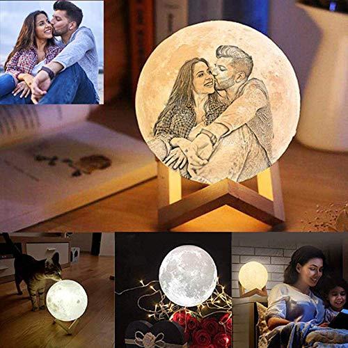 LEERAIN Foto Personalizada Luz De Luna 3D, Personalizado Lámpara De Luna Llena, Lámpara De Mesa Led Lunar, Luz De Noche, Fiesta De Cumpleaños Amante De Los Niños, 18cm