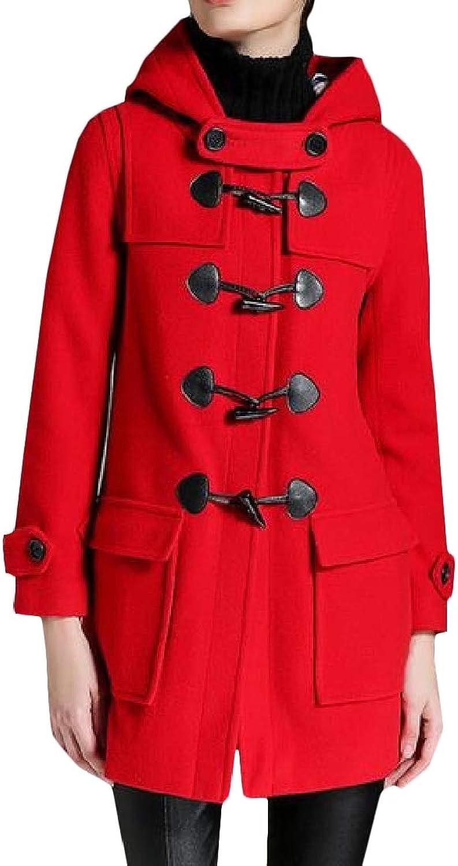 WofupowgaCA Womens Outwear WoolBlended Toggle Big Pockets Hooded Casual Pea Coat