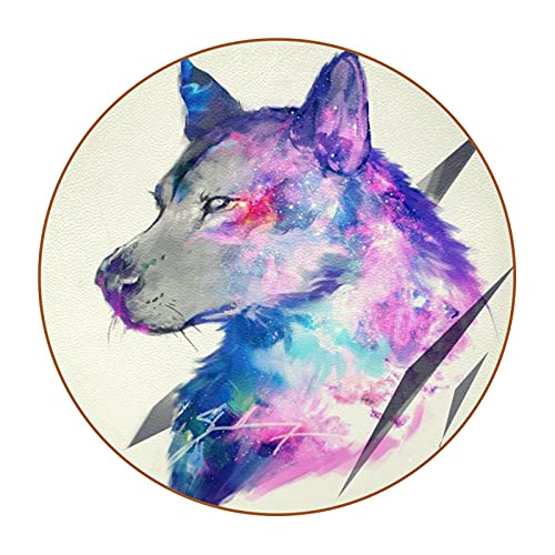 Watercolor dog, Set of 6 DIY Round Mat Super Fiber Leather Drinks Coaster For Furniture and Tabletop Protection and Decoration