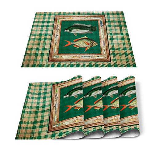 Placemats Set of 6 for Dining Table Funny Fish Green Lattice Print Cotton Linen Heat Resistant Mats for Kitchen Table Decoration Washable 18L x 12W