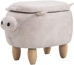 THBEIBEI Storage Benches Footstools Footstool Solid Wood Ottoman Pouffe Cloth Sofa Children's Change Shoes Stool Rest Chair Living Room Bedroom Pig Shape for Living Room Hallway