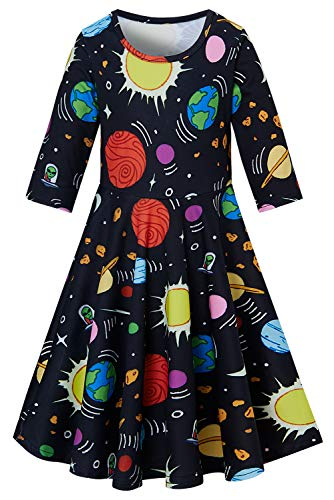 Leapparel Little Girls Planet Ptinted Dresses Funny 3D Colorful Universe Frock Black Sundress Long Sleeve Crew Neck One Piece Princess Dress for 4-5 Years